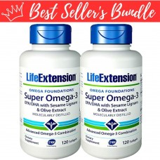 [BUNDLE] Life Extension Super Omega-3 EPA/DHA with Sesame Lignans & Olive Extract, 120 softgels