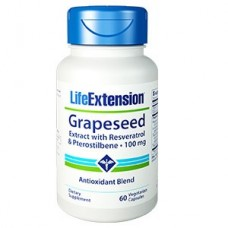 Life Extension Grapeseed Extract with Resveratrol & Pterostilbene 100mg, 60 vege caps
