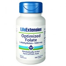 Life Extension Optimized Folate (L-Methylfolate) 1000mcg, 100 vegetarian tablets (Expiry Jul 2019)