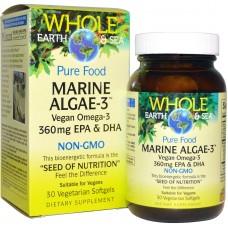 Natural Factors, Whole Earth & Sea, Marine Algae-3,  30 vege softgels  (Expiry Nov 2020)