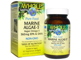 Natural Factors, Whole Earth & Sea, Marine Algae-3,  30 vege softgels