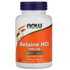 NOW Betaine HCL, 648 mg, 120 vege caps